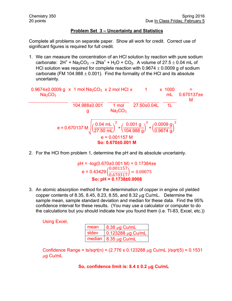 How To Find Standard Deviation Given Sample Size Solution For Problem Set  3 €� Uncertainty And Statistics
