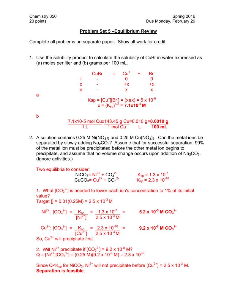 Problem Set 5 –Equilibrium Review
