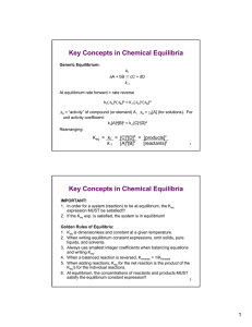 Key Concepts in Chemical Equilibria