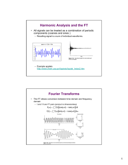 Harmonic Analysis and the FT Fourier Transforms components (cosines and sines )