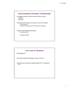 Electroanalytical Chemistry: Fundamentals 11/13/2015