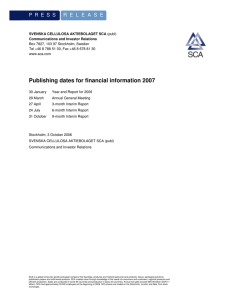 Publishing dates for financial information 2007
