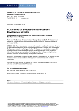 SCA names Ulf Söderström new Business Development director
