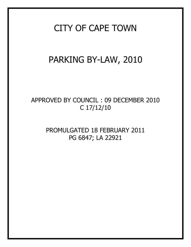 City of cape town parking by law 2010 ccuart Images