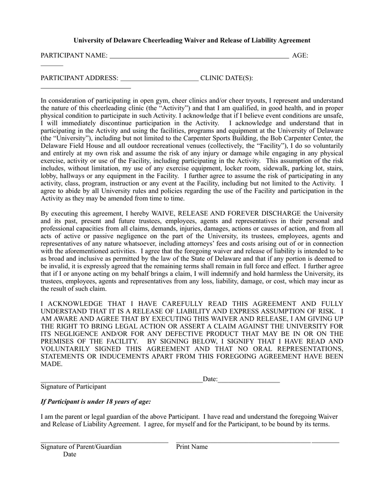 University Of Delaware Cheerleading Waiver And Release Of Liability
