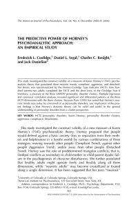 THE PREDICTIVE POWER OF HORNEY'S PSYCHOANALYTIC APPROACH: AN EMPIRICAL STUDY Frederick L. Coolidge,