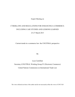 Expert Meeting on  CYBERLAWS AND REGULATIONS FOR ENHANCING E-COMMERCE: