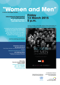 """Women and Men"" Friday 13 March 2015 5 p.m."
