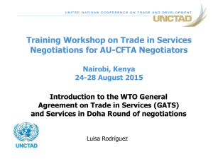Training Workshop on Trade in Services Negotiations for AU-CFTA Negotiators