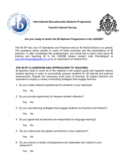 International Baccalaureate Diploma Programme Teacher Interest Survey