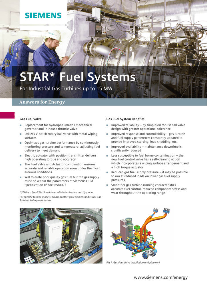 STAR Fuel Systems For Industrial Gas Turbines up to 15 MW