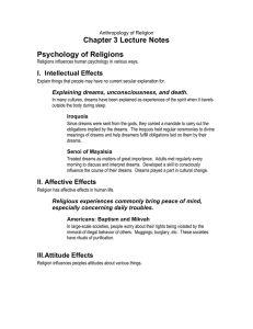 Chapter 3 Lecture Notes Psychology of Religions I. Intellectual Effects