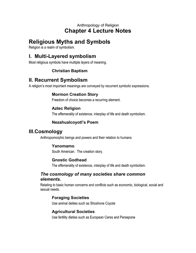 Chapter 4 Lecture Notes Religious Myths And Symbols I Multi Layered