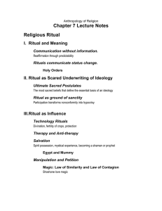 Chapter 7 Lecture Notes Religious Ritual I.  Ritual and Meaning