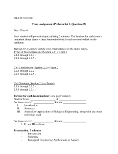 Team Assignment (Problem Set 1, Question #7) Due: Class 6