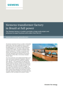 Siemens transformer factory in Brazil at full power