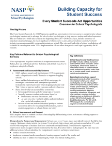 Building Capacity for Student Success  Every Student Succeeds Act Opportunities