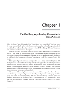 Chapter 1 The Oral Language–Reading Connection in Young Children