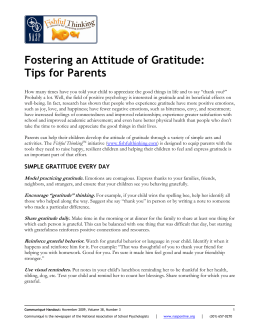 Fostering an Attitude of Gratitude: Tips for Parents