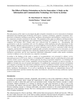 The Effect of Market Orientation on Service Innovation: A Study... Information and Communication Technology (Ict) Sector in Jordan