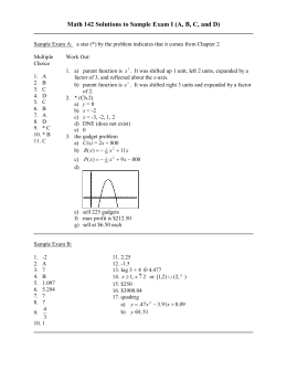 Math 142 Solutions to Sample Exam I (A, B, C,...