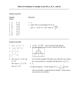 Math 142 Solutions to Sample Exam III (A, B, C,...