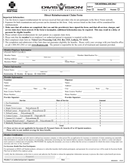 Direct Reimbursement Claim Form