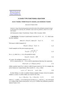 A GAUSS TYPE FUNCTIONAL EQUATION