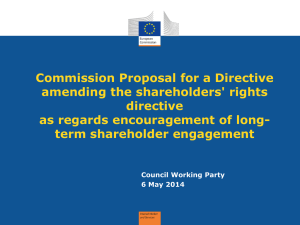 Commission Proposal for a Directive amending the shareholders' rights directive
