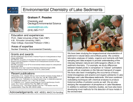 Environmental Chemistry of Lake Sediments Graham F. Peaslee Education and experiences Chemistry and