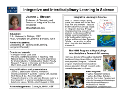 Integrative and Interdisciplinary Learning in Science Joanne L. Stewart