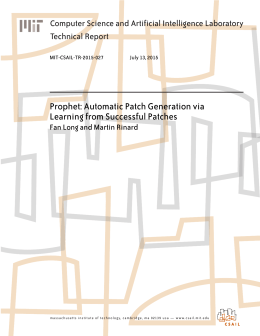 Prophet: Automatic Patch Generation via Learning from Successful Patches Technical Report