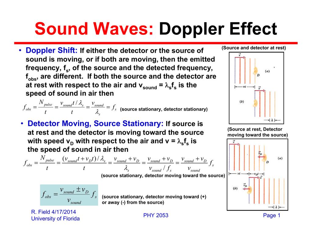 Sound Waves: Doppler Effect Doppler Shift: