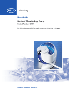 User Guide Sentino Microbiology Pump Product Number: 13186