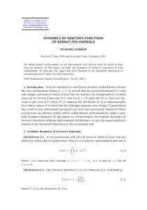 DYNAMICS OF NEWTON'S FUNCTIONS OF BARNA'S POLYNOMIALS PIYAPONG NIAMSUP