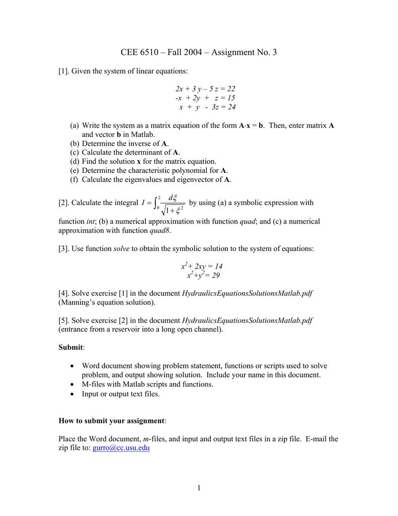 ∫ CEE 6510 – Fall 2004 – Assignment No  3 ξ