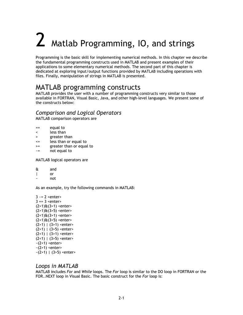 2 Matlab Programming, IO, and strings
