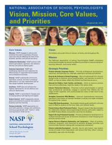 Vision, Mission, Core Values, and Priorities NATIONAL ASSOCIATION OF SCHOOL PSYCHOLOGISTS Vision