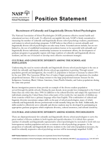 Position Statement Recruitment of Culturally and Linguistically Diverse School Psychologists