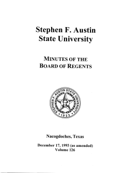 Stephen F. Austin State University Minutes of the Board of Regents