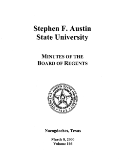 State University Stephen F. Austin Minutes of the Board of Regents