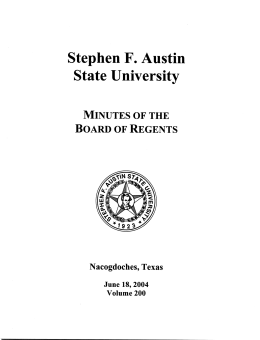 State University Stephen F. Austin Board of Regents Minutes of the