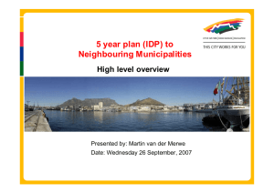 5 year plan (IDP) to Neighbouring Municipalities High level overview