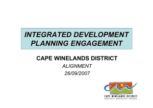 INTEGRATED DEVELOPMENT PLANNING ENGAGEMENT CAPE WINELANDS DISTRICT ALIGNMENT