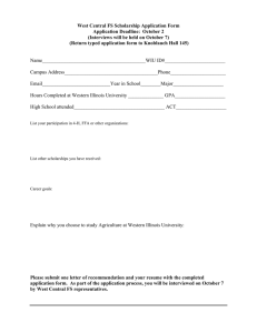 West Central FS Scholarship Application Form Application Deadline:  October 2