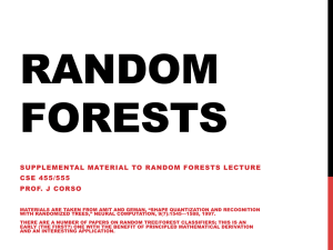 RANDOM FORESTS SUPPLEMENTAL MATERIAL TO RANDOM FORESTS LECTURE CSE 455/555