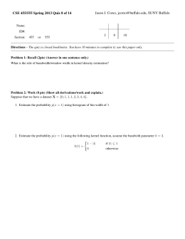 CSE 455/555 Spring 2013 Quiz 8 of 14