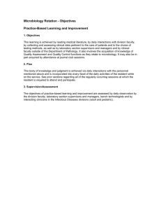Microbiology Rotation - Objectives Practice-Based Learning and Improvement