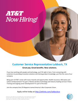Customer Service Representative Lubbock, TX Great pay. Great benefits. New solutions.