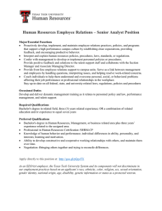Human Resources Employee Relations – Senior Analyst Position